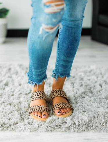CHEETAH DOUBLE STRAP SANDAL