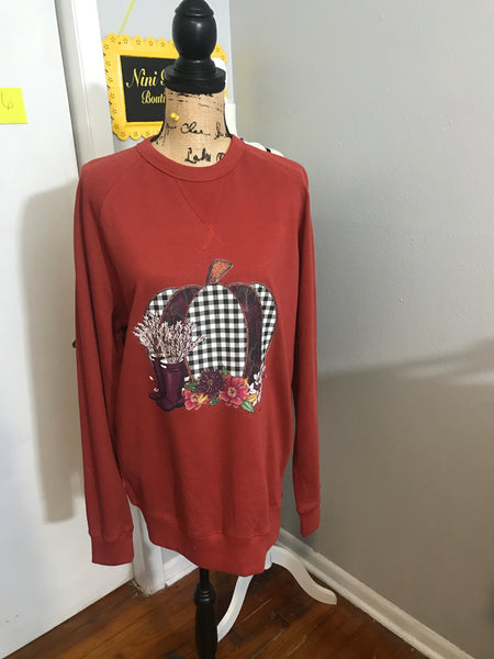 LARGE RUST HOUNDSTOOTH SWEATSHIRTsup