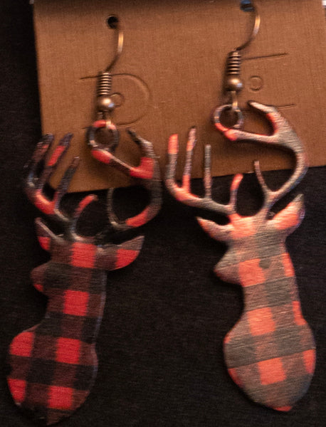 BUFFALO PLAID DEER EARRINGS
