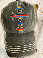 DARK GREY SERAPE CROSS HAT