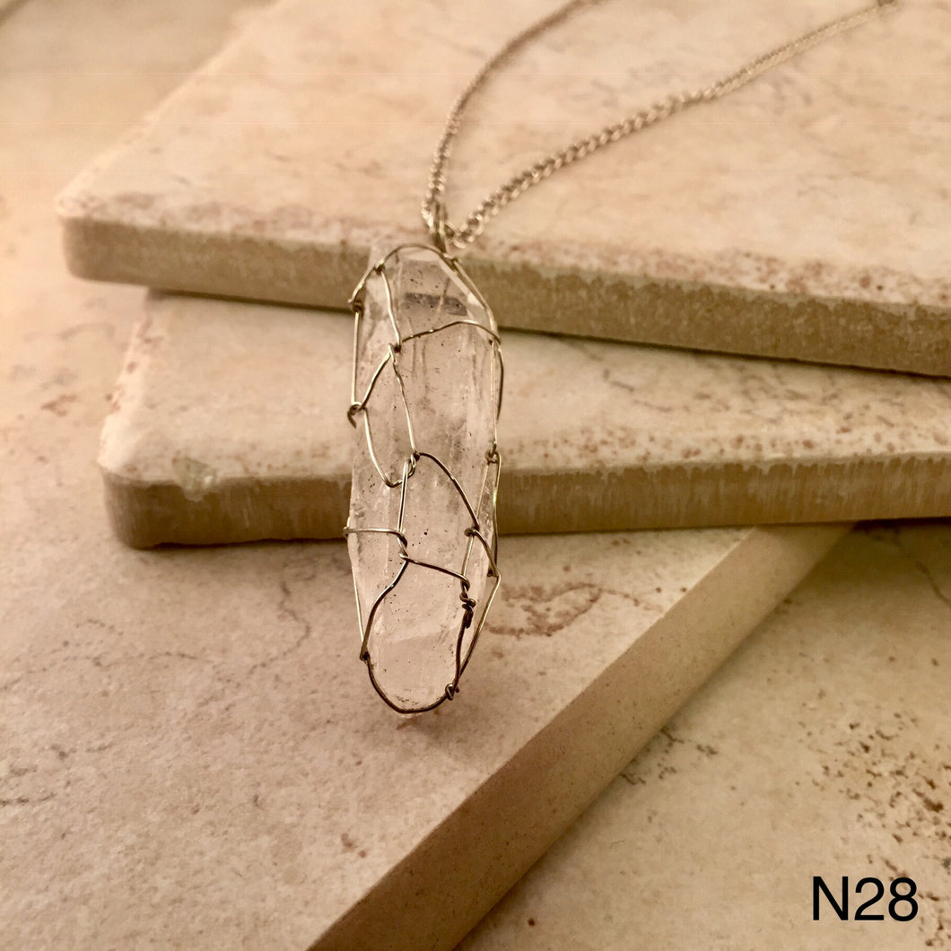 Wire Wrapped Quartz Necklace