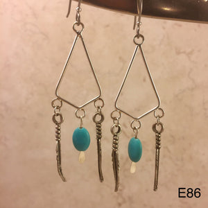 Open Feather and Turquoise Earrings