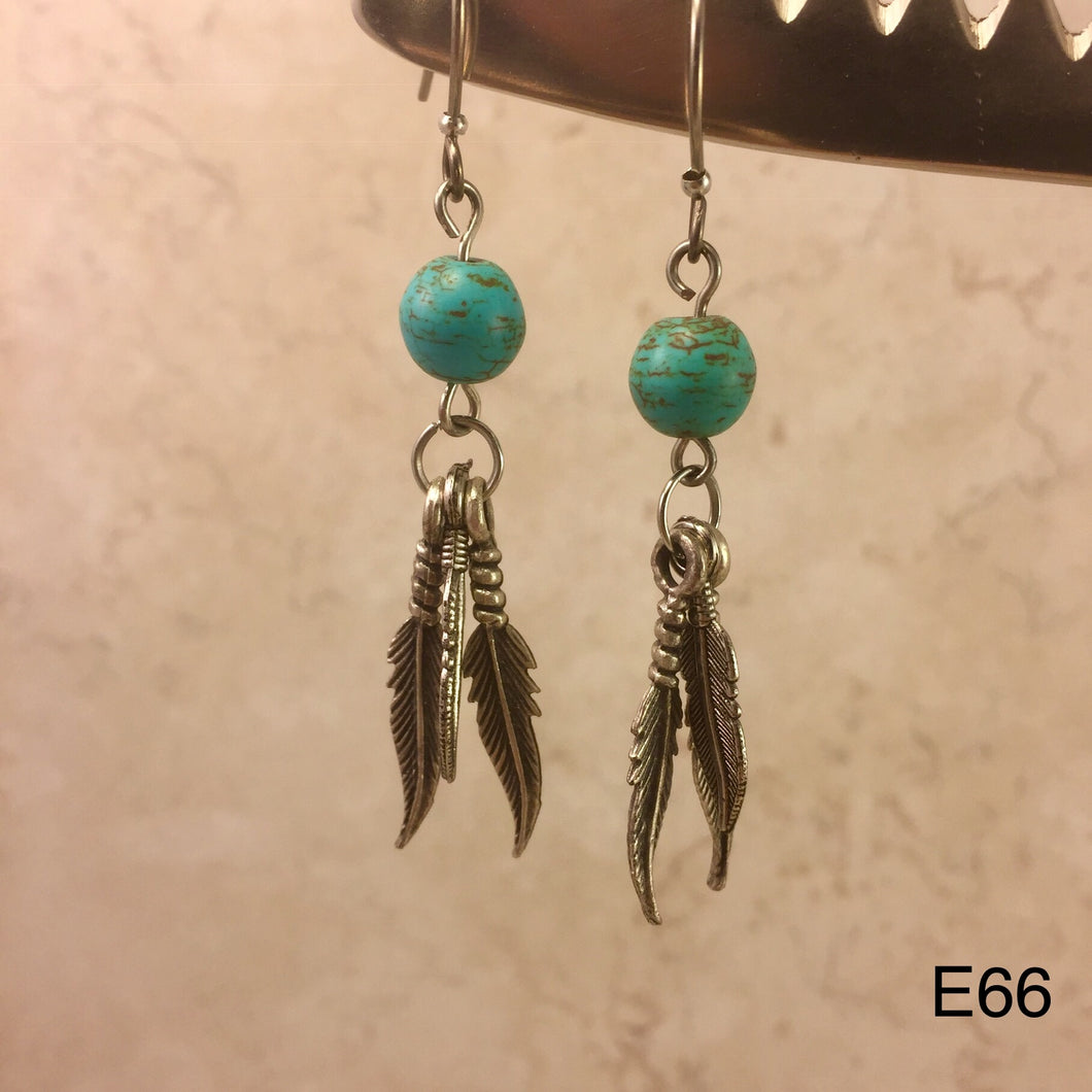 Turquoise Round and Feather Earrings