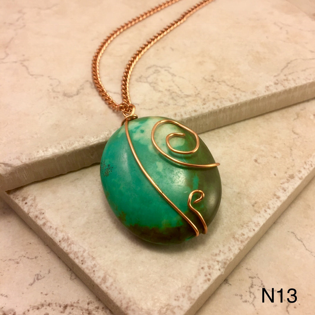 Copper Wrapped Turquoise Necklace
