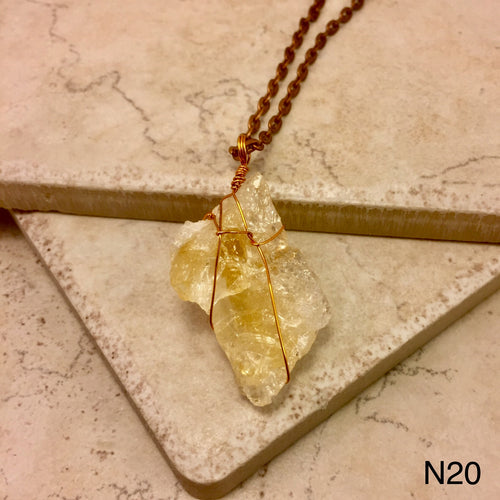 Diamond Shaped Orange Calcite Necklace