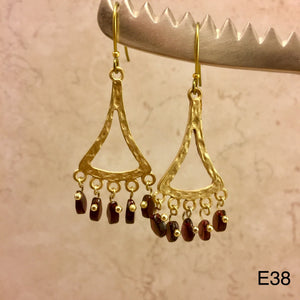 Gold and Bugundy Earrings