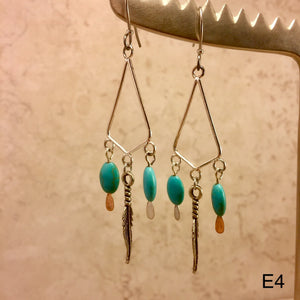 Feather and Turquoise Earrings