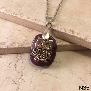 Owl on Amethyst Necklace