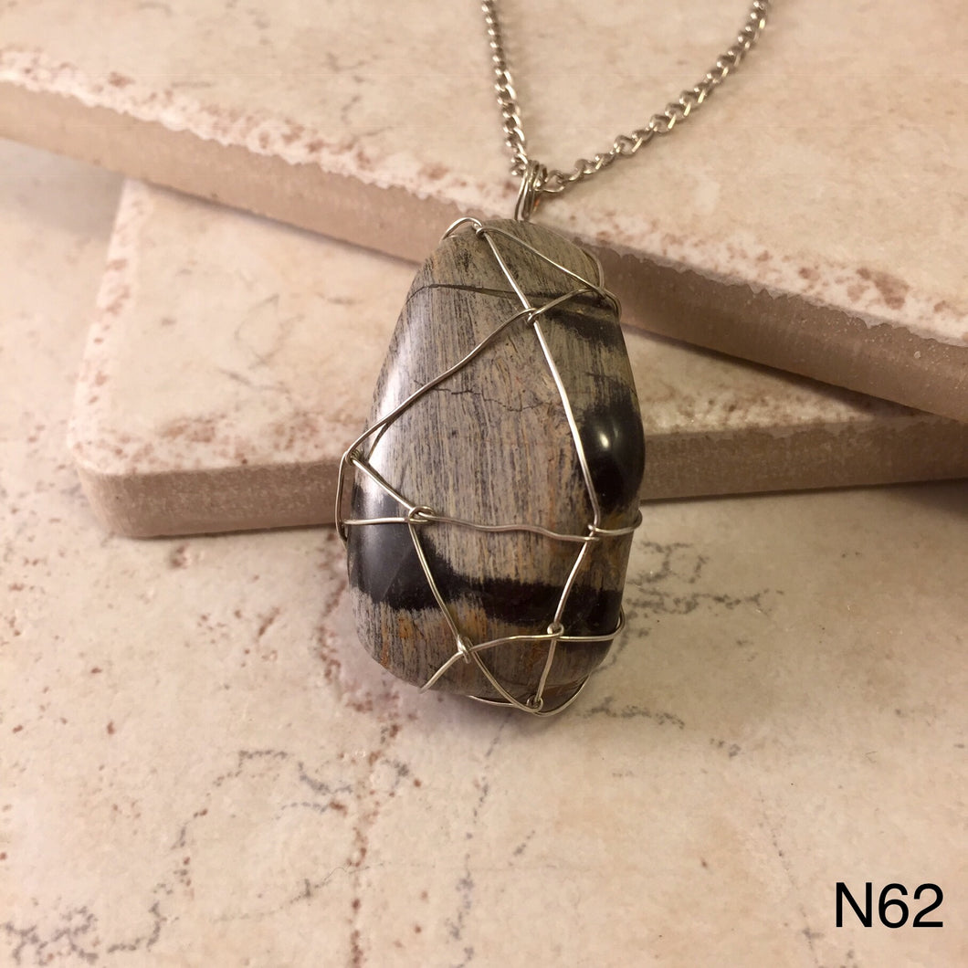 Wire Wrapped Oil Shale Necklace