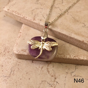 Dragonfly on Amethyst Necklace