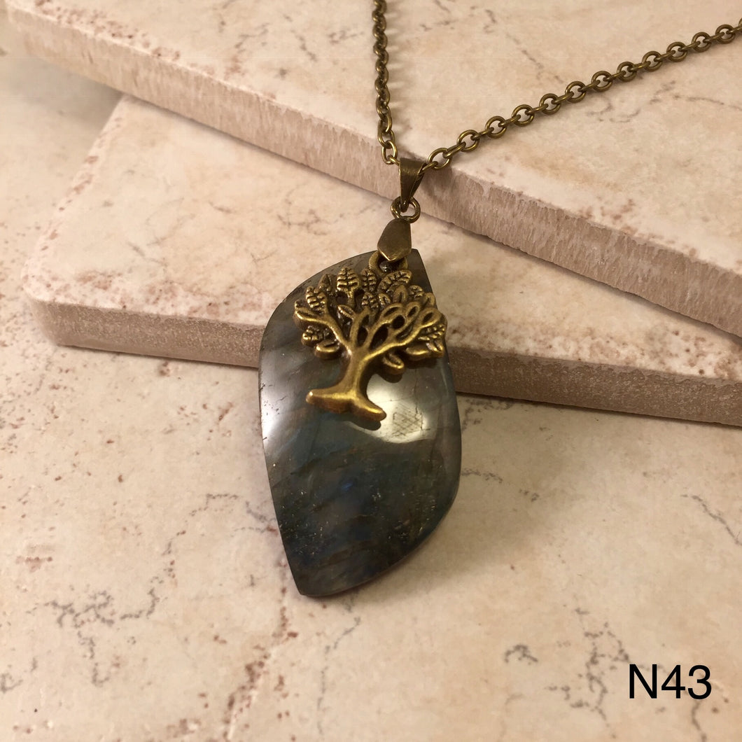 Bronze Tree on Labradorite Necklace