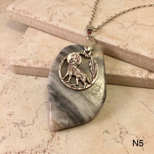 Load image into Gallery viewer, Wolf on Grey Onyx Necklace