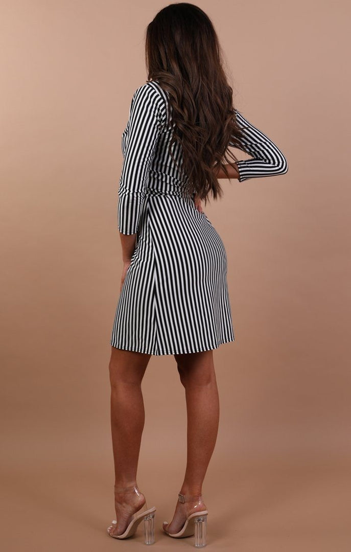 Black And White Stripe Front Wrap Tie Dress – Hannah
