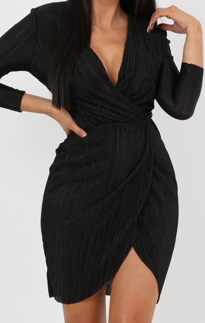 Black Pleated Wrap Dress - Violet