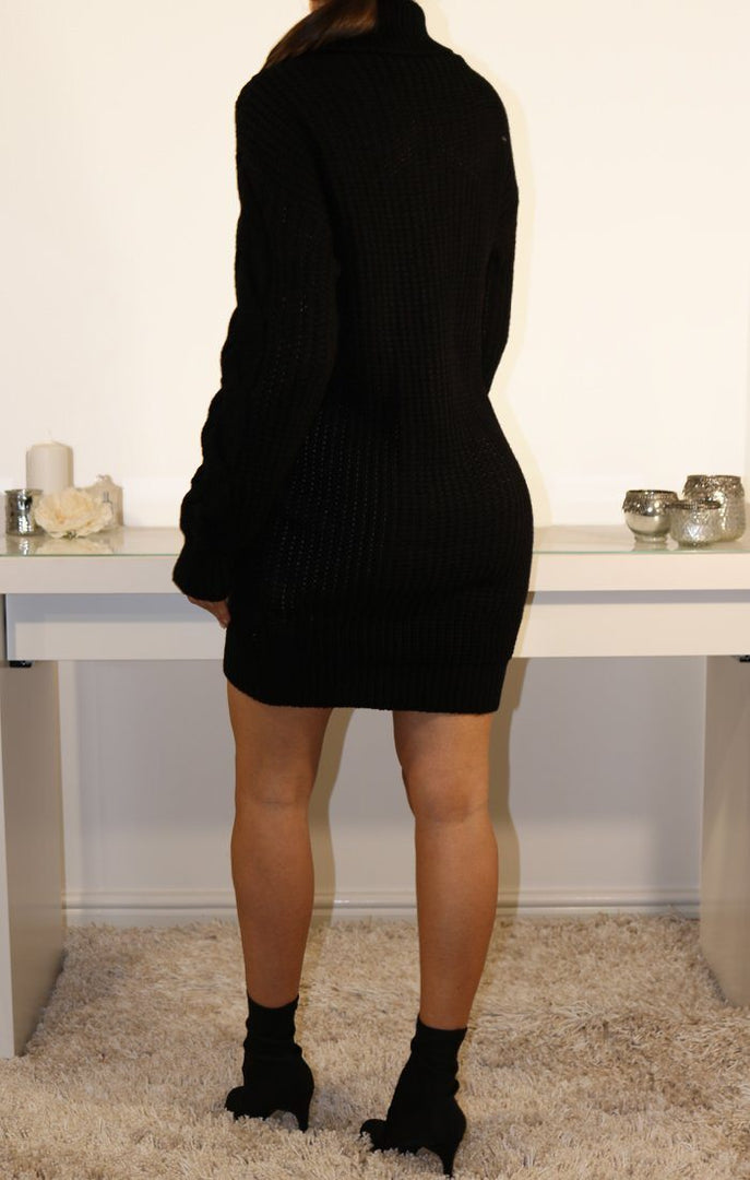 Black Roll Neck Knitted Jumper Dress