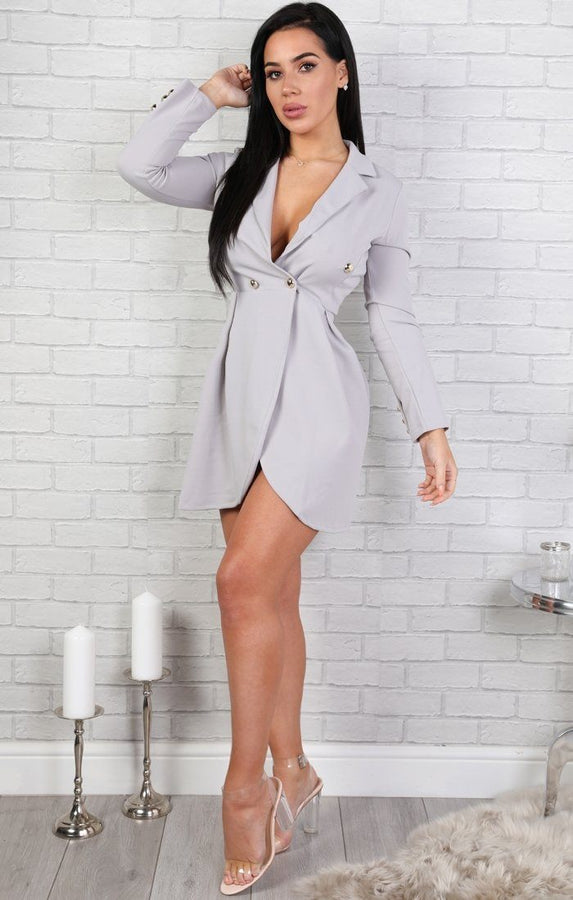 Grey Button Embellished Blazer Dress
