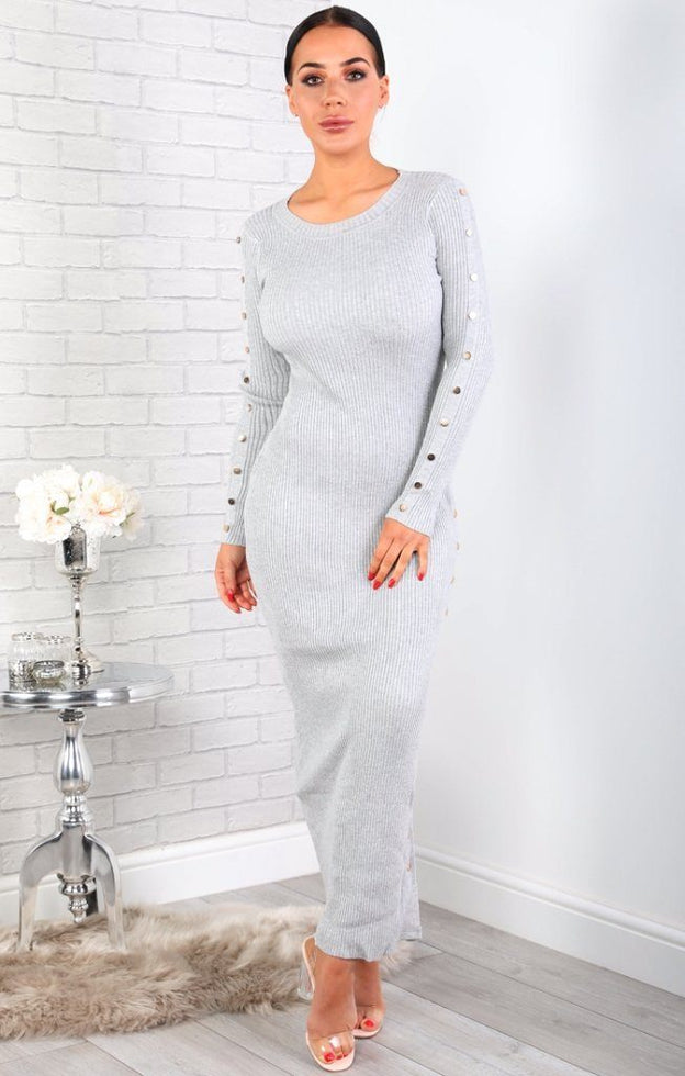 Grey Ribbed Bodycon Maxi Dress
