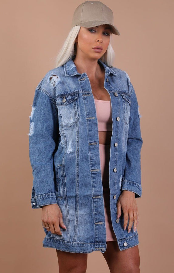 Blue Distressed Oversized Longline Denim Jacket – Madison