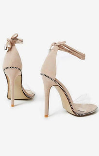 Studded Lace Up Perspex Heel In Nude Faux Suede – Alarna