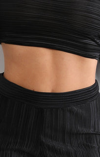 Black Pleated Two Piece Co-ord Set