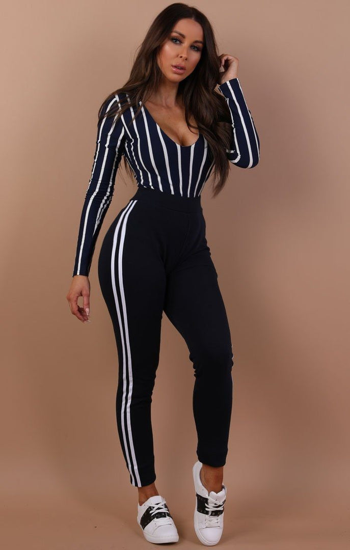 Navy With White Stripe Joggers - Francesca