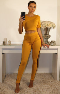 Mustard Leggings And Crop Top Two Piece Co-ord Set