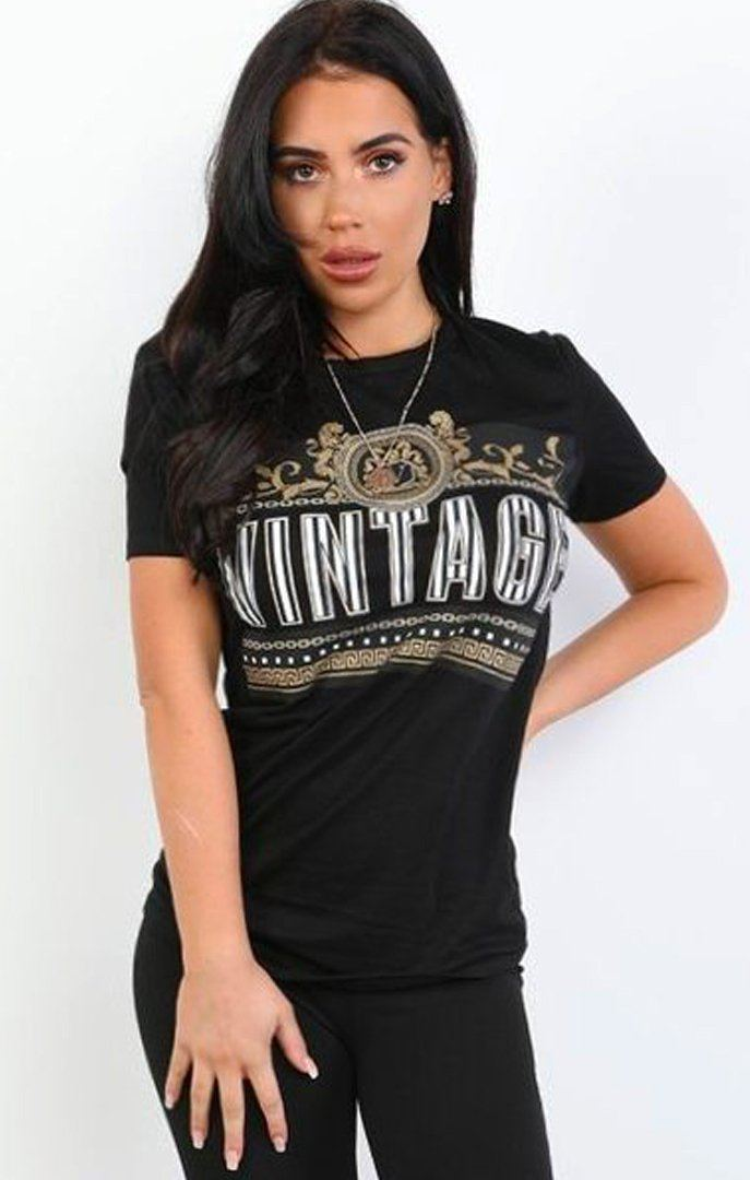 Black 'vintage' Scarf Detail T-shirt - Lillian