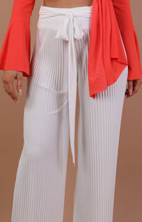 Cream Pleated Wide Leg Trousers - Lucille