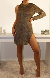 Gold Metallic One Armed Dress