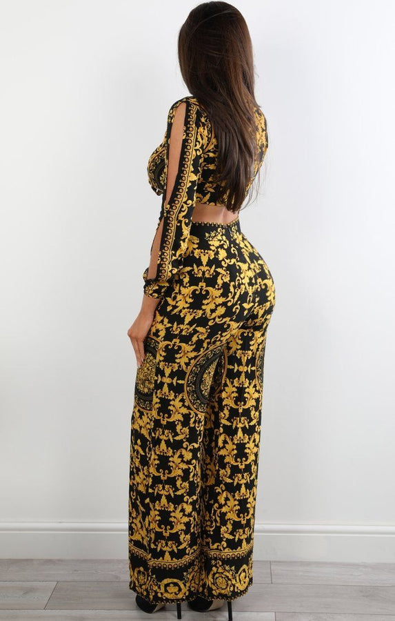 Black And Mustard Scarf Print Trousers