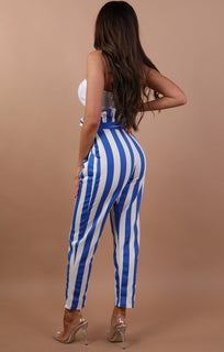 Blue And White Paper Bag Trousers - Alina