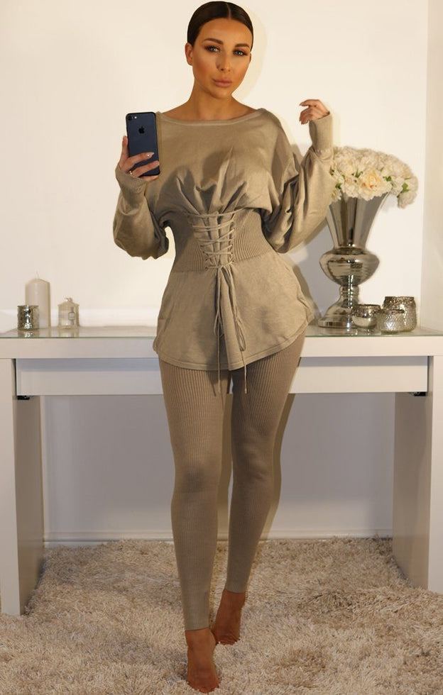 Mocha Ribbed Corset Front Loungewear Set