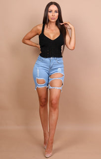 Black Knitted Cross Over Crop Top - Amy