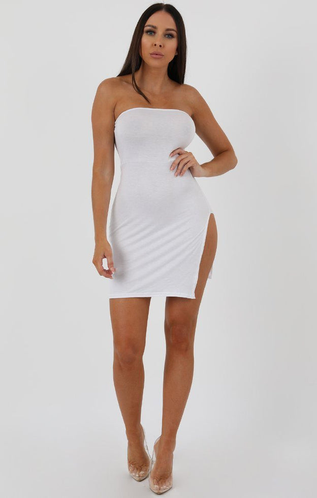 White Split Side Bandeau Bodycon Dress - Lelia