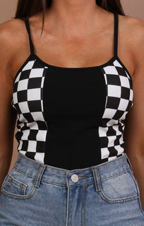 Black And White Check Bodysuit - Beth