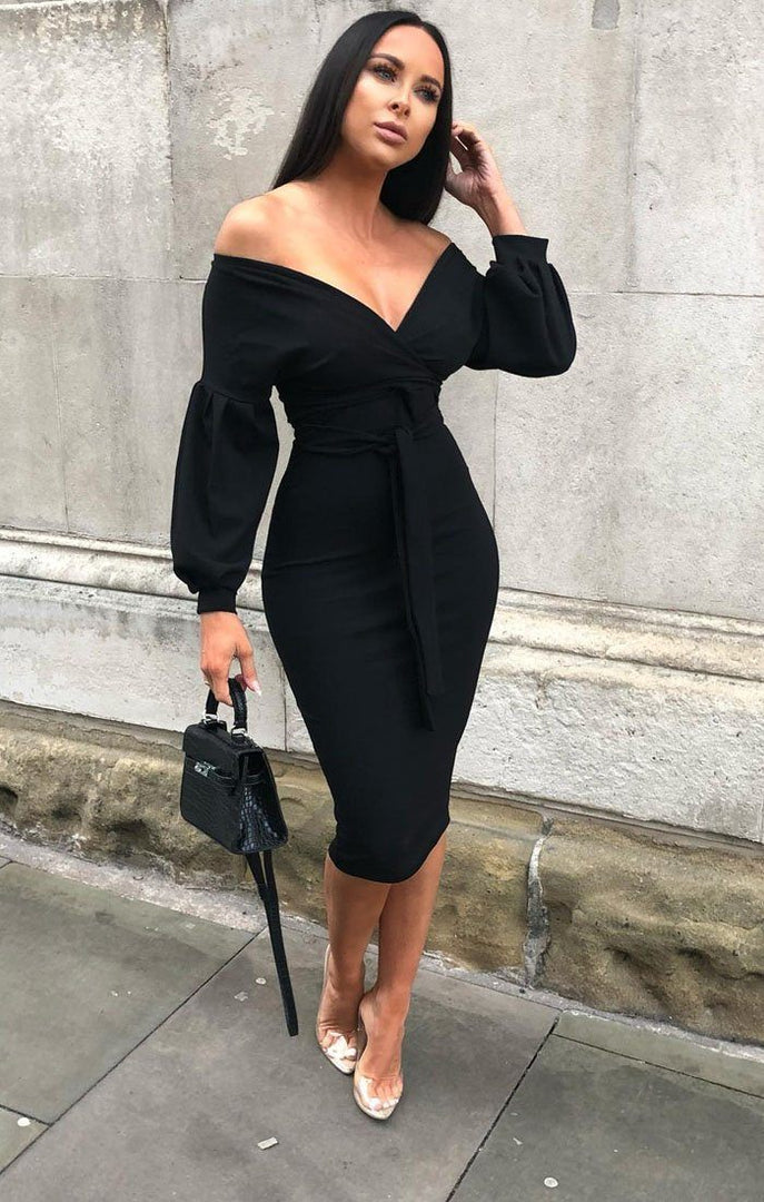 Black Belted Bodycon Midi Dress - Angelica