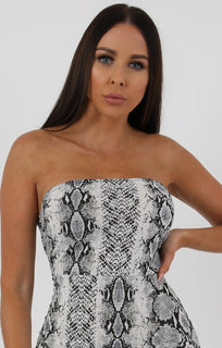 Animal Snake Print Split Side Bandeau Bodycon Dress - Lelia