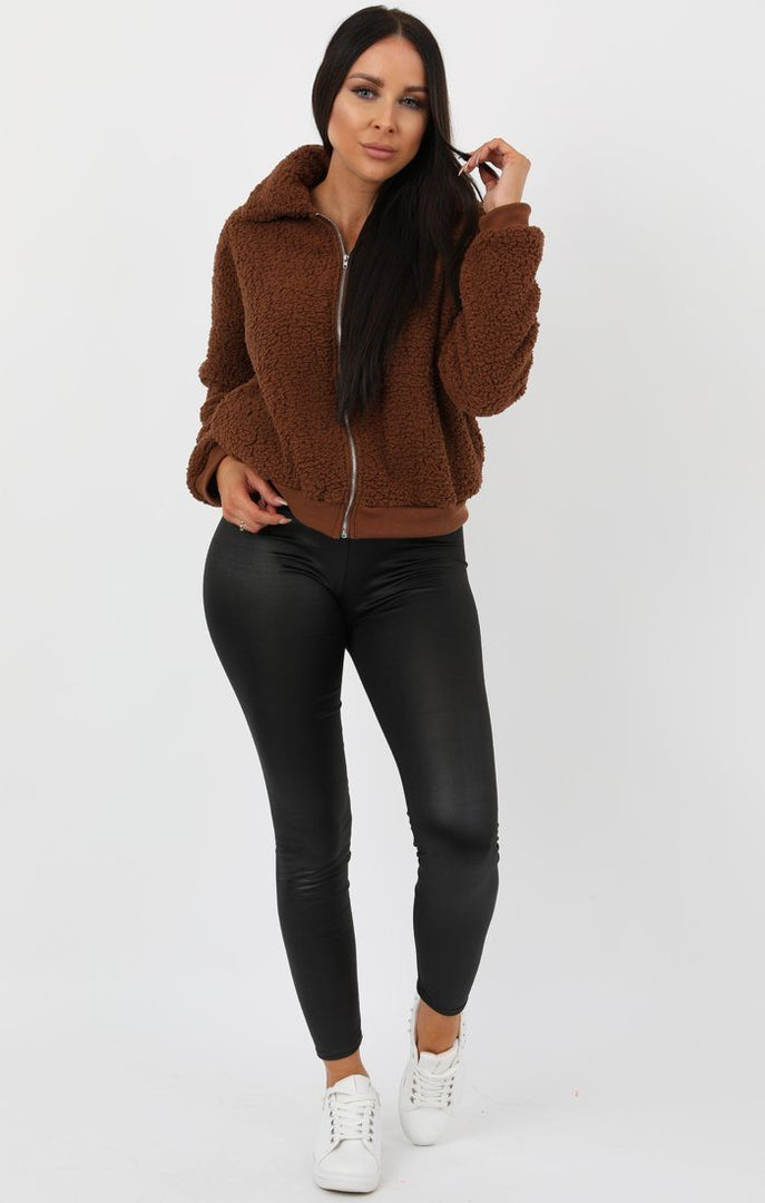 Brown Teddy Zip Jacket - Castala