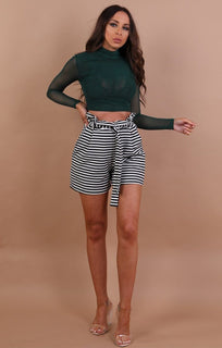 Green High Neck Mesh Crop Top - Rio