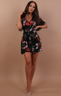 Black Floral Tie Back Playsuit - Sandy