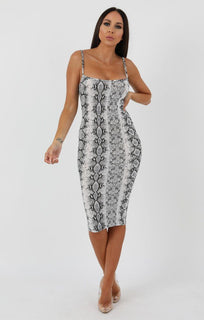 Animal Snake Print Strappy Bodycon Midi Dress - Poppy