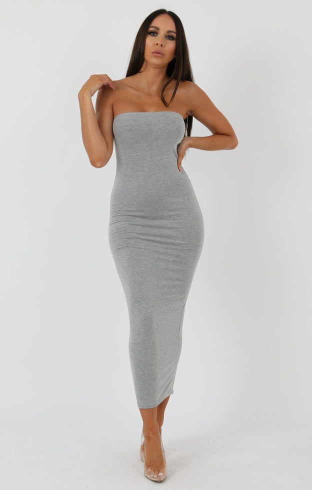 Grey Bandeau Bodycon Midi Dress - Ariana