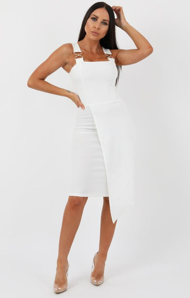 White Buckle Detail Bodycon Dress - Bella