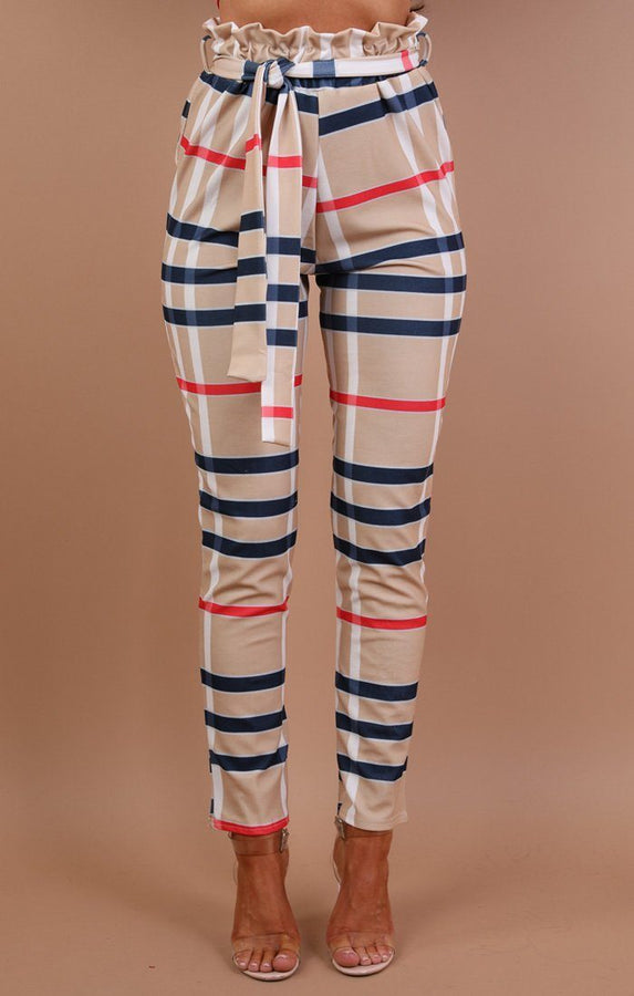 Beige Check Paper Bag Trousers - Dolly