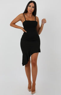 Black Cami Frill Dip Hem Dress - Merida
