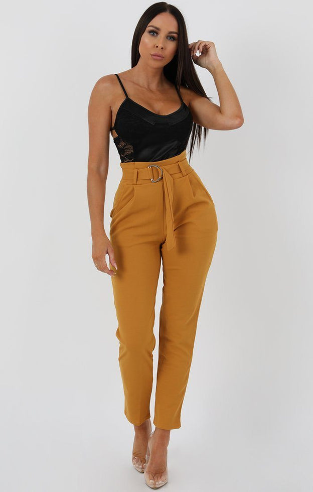 Mustard Tapered Cigarette Trousers - Lydia