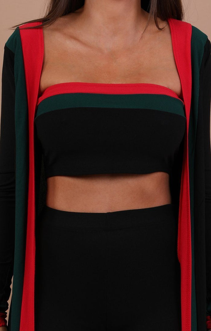 Black Red And Green Three Piece Set - Kimberly
