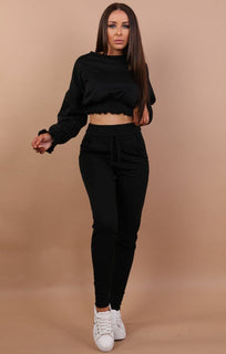 Black Cropped Frill Jumper - Natasha