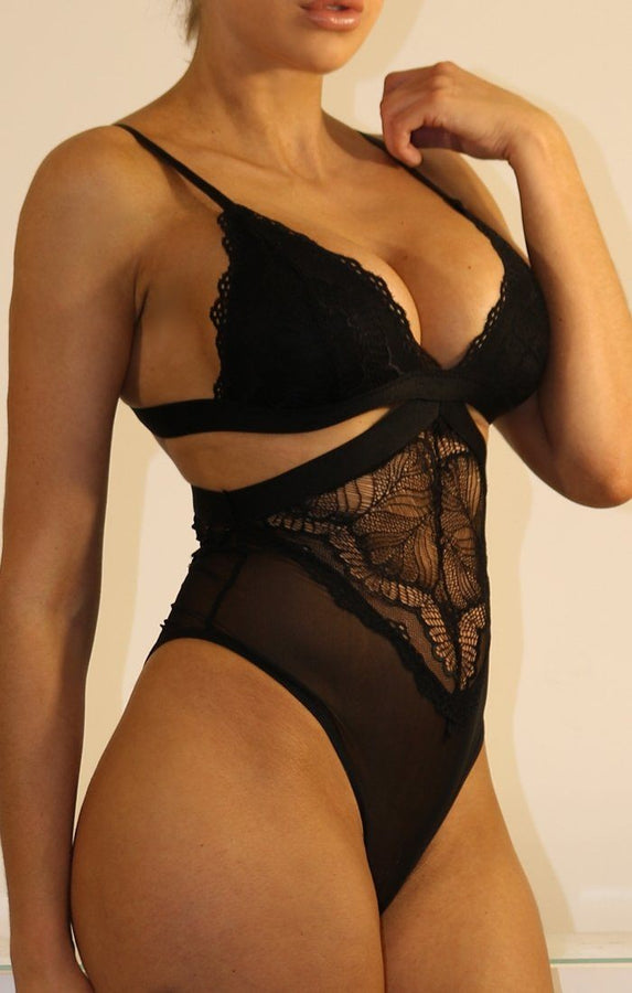 Black Lace And Mesh Cut Out Bodysuit