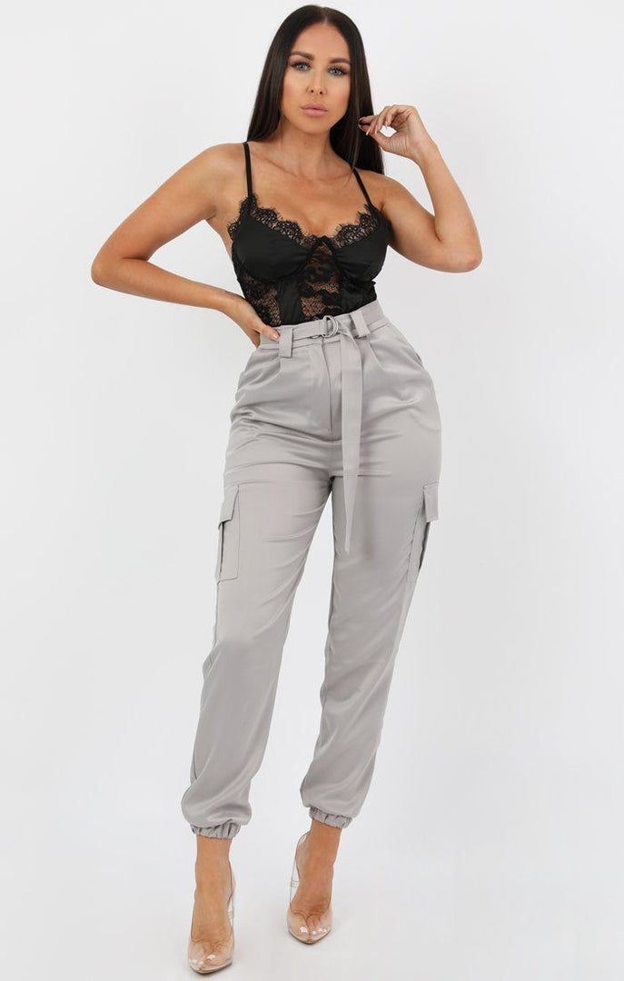 Grey Belted Cargo Satin Cigarette Trousers - Athenea